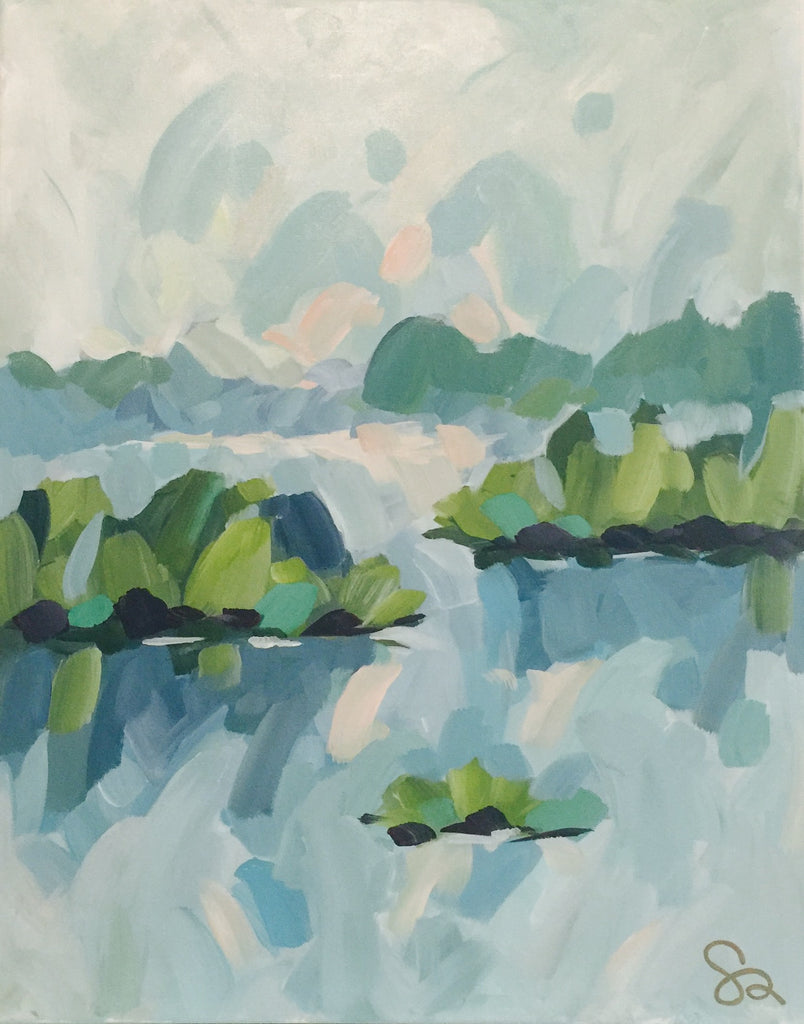 Inlet Waterscape II painting Shields Catone - Christenberry Collection