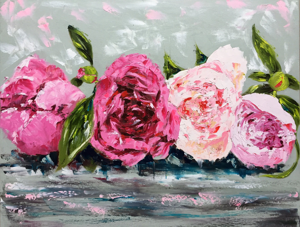 Row of Peonies 2 painting Emma Bell - Christenberry Collection