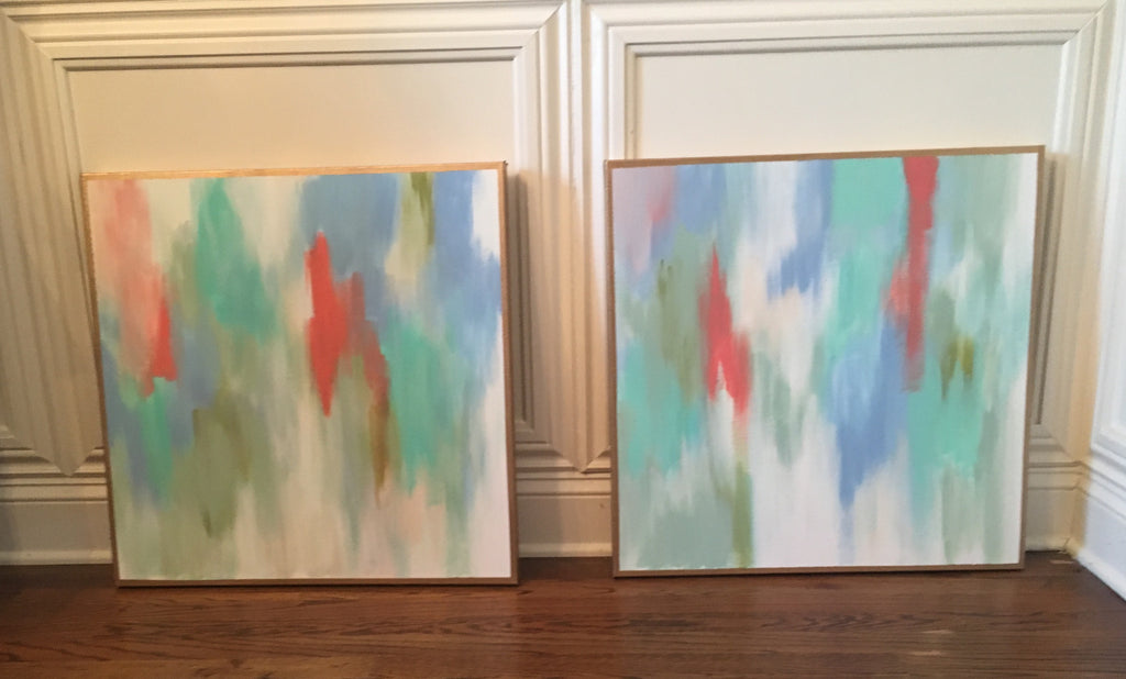 Pop of Coral I and II painting Lauren Neville - Christenberry Collection
