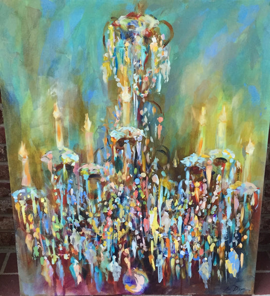 French Blue Chandelier painting Amy Dixon - Christenberry Collection