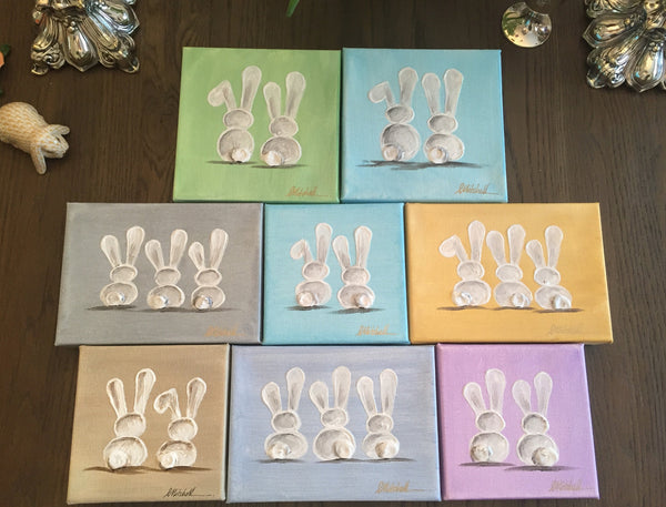 Three Bunnies painting Lori Mitchell - Christenberry Collection