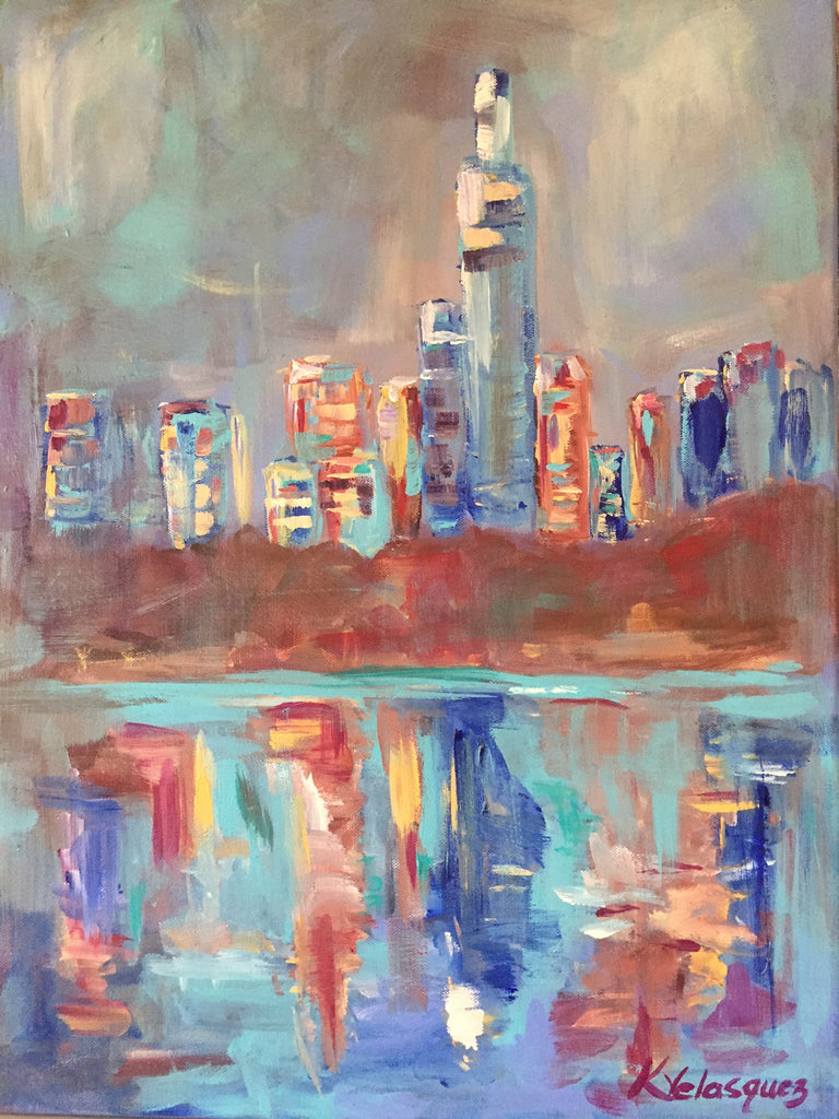 Blue Night in New York painting Karen Velasquez - Christenberry Collection