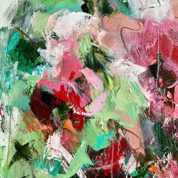 Pink Flowers painting Emma Bell - Christenberry Collection