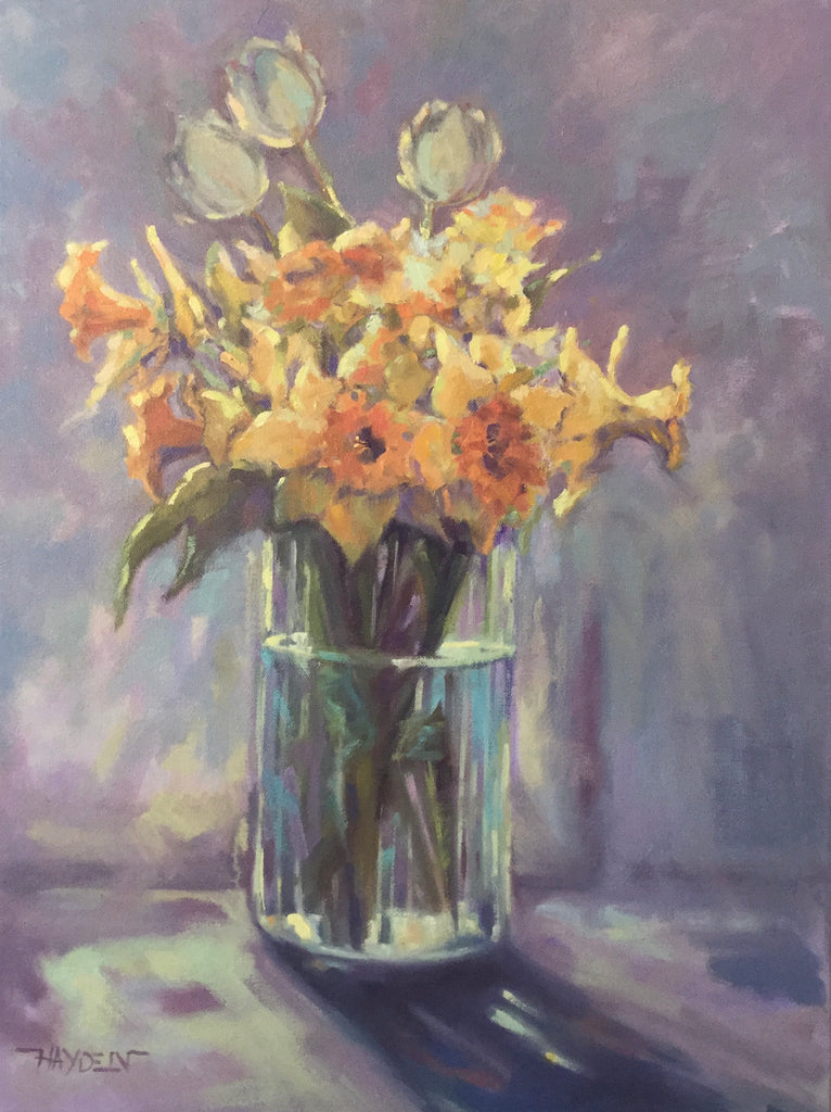 Tulips and Daffodils painting Barbara Hayden - Christenberry Collection