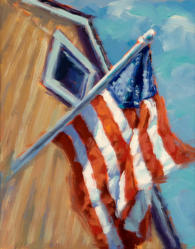 Old Glory painting Kelly Berger - Christenberry Collection