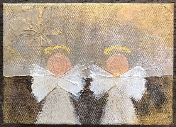 Double Kathryn Angels painting Lori Mitchell - Christenberry Collection