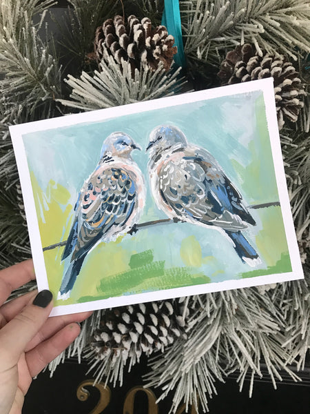 Two Turtle Doves painting Shields Catone - Christenberry Collection
