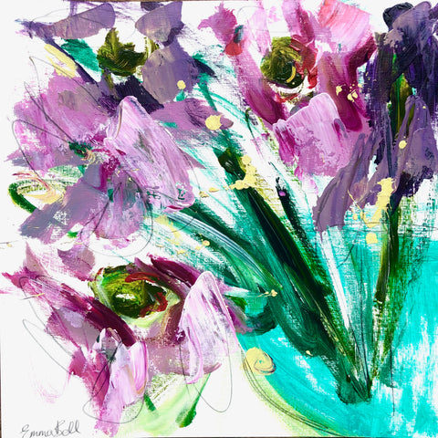 Vase of Pink and Lilac I painting Emma Bell - Christenberry Collection