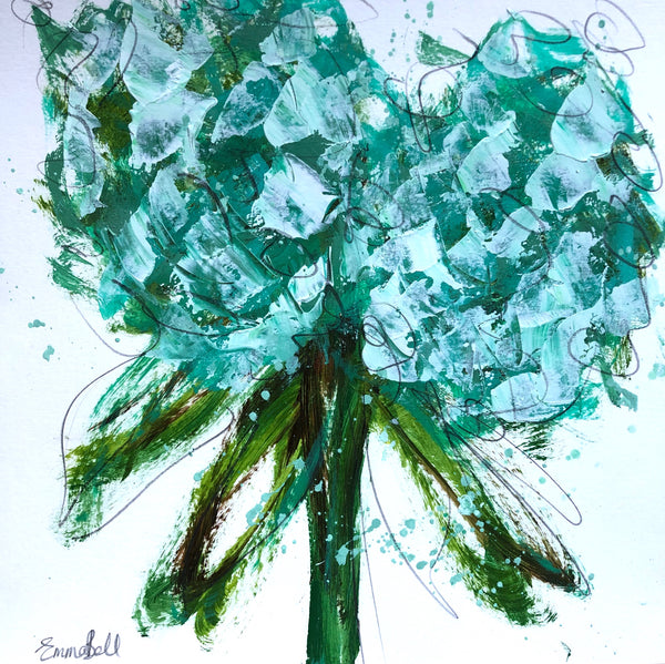 Aqua Hydrangeas II painting Emma Bell - Christenberry Collection