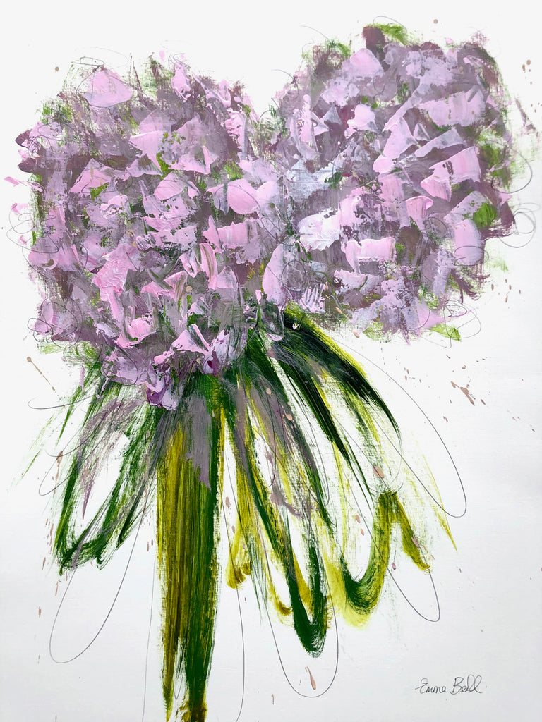 Pink Hydrangeas painting Emma Bell - Christenberry Collection