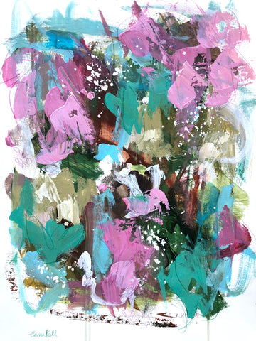 Pink and Aqua in Bloom painting Emma Bell - Christenberry Collection