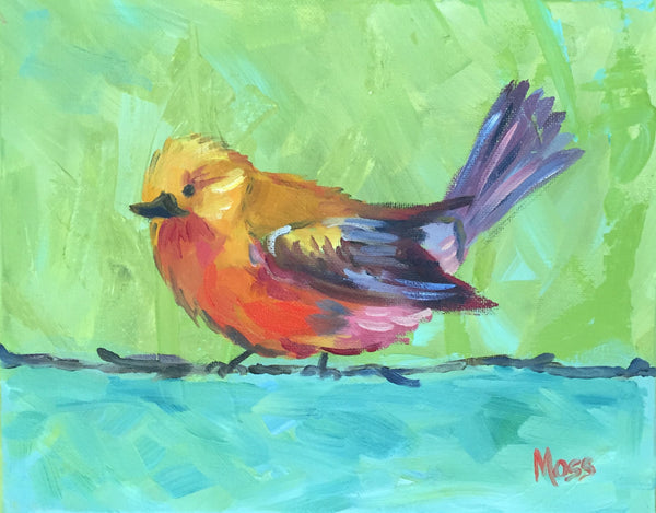 Bird on a Wire painting Jenny Moss - Christenberry Collection