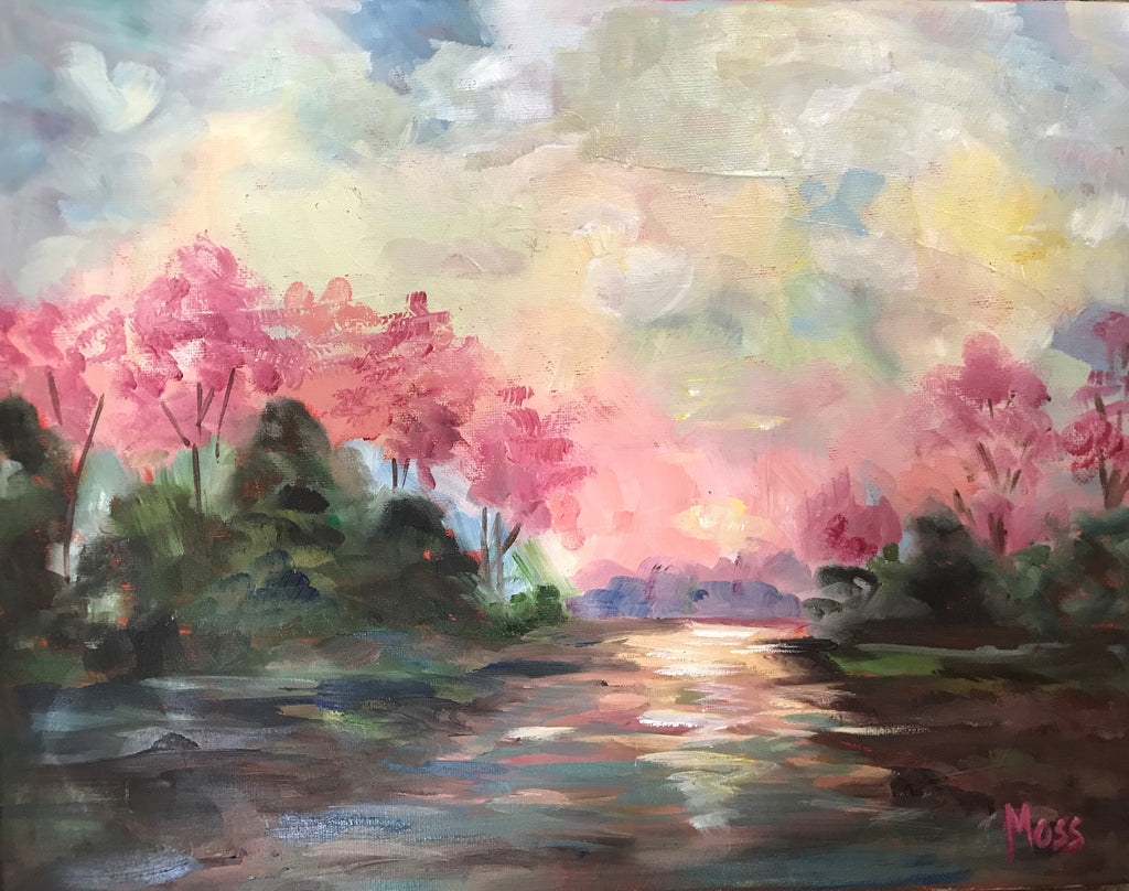 Pink Reflections painting Jenny Moss - Christenberry Collection