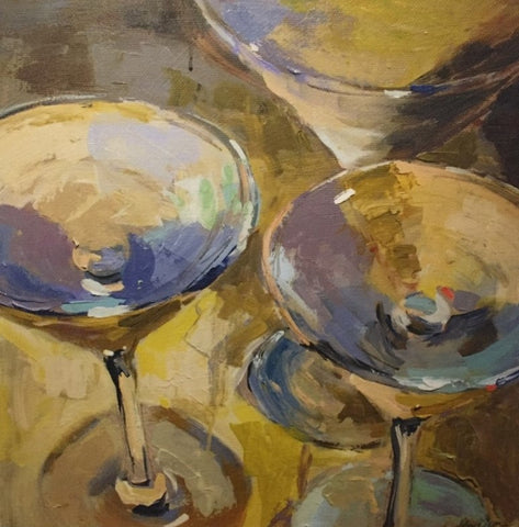 French Martinis painting Amy Dixon - Christenberry Collection