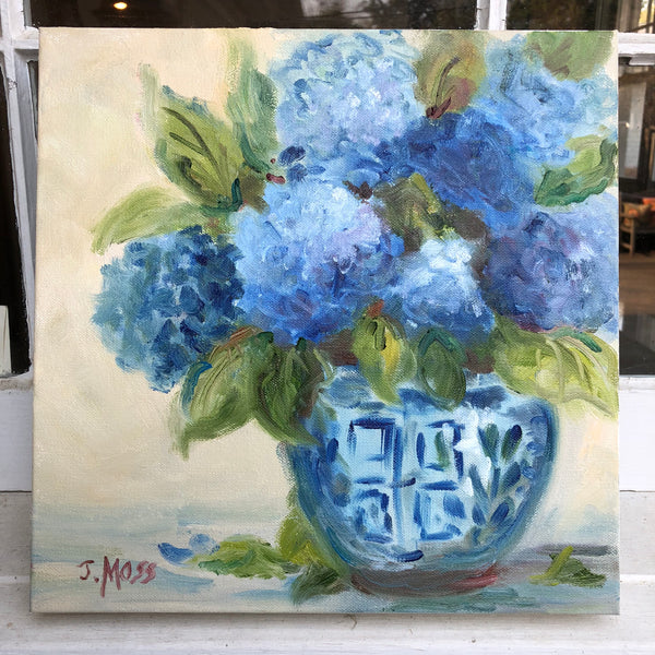 Oriental Blues painting Jenny Moss - Christenberry Collection