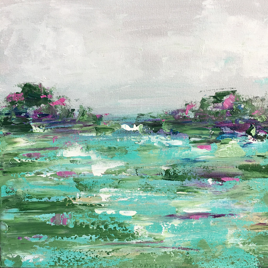 Aqua Green Marsh painting Emma Bell - Christenberry Collection