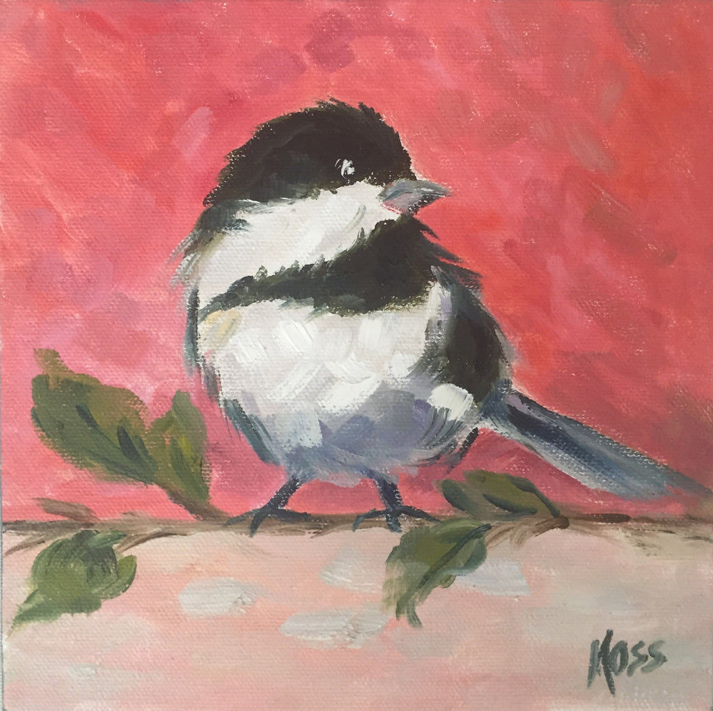 Black and White Bird painting Jenny Moss - Christenberry Collection
