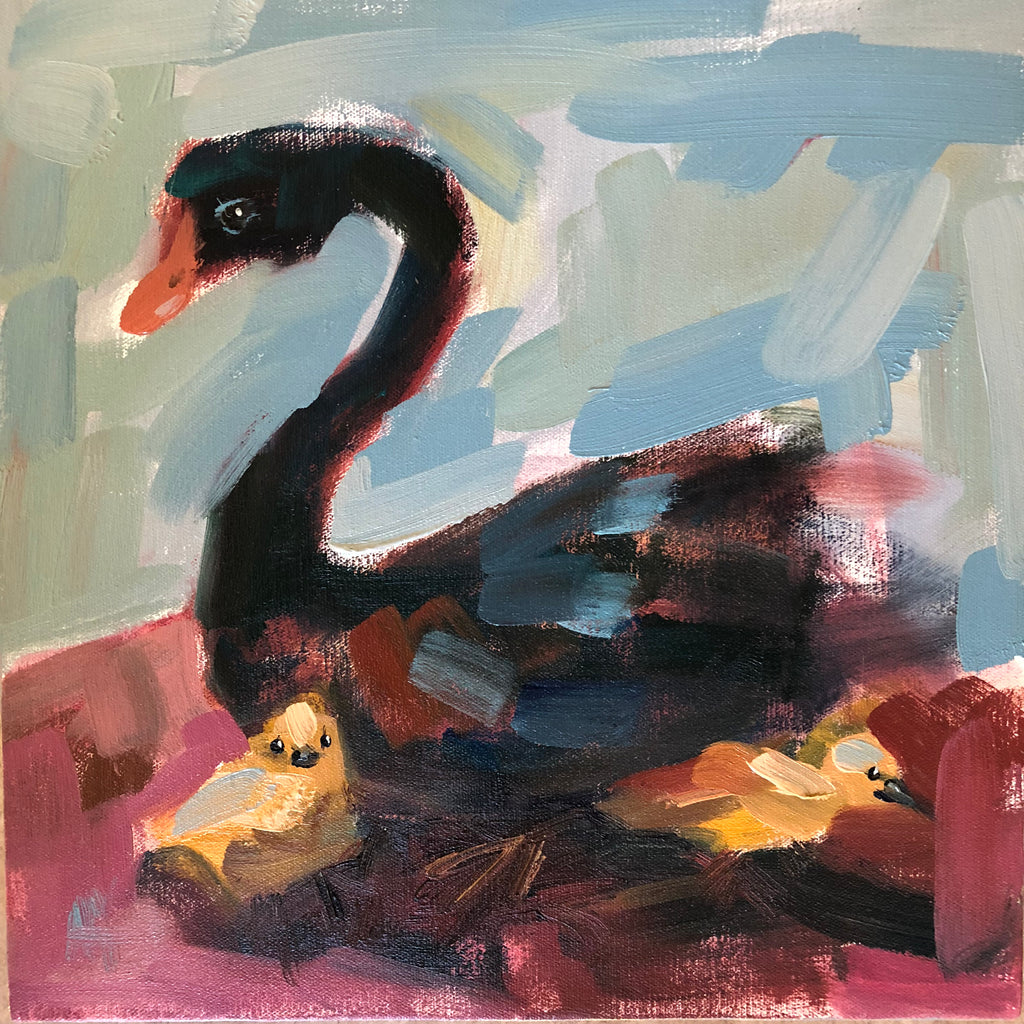 Black Swan painting Angela Moulton - Christenberry Collection