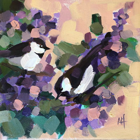 Two Chickadees No. 85 painting Angela Moulton - Christenberry Collection