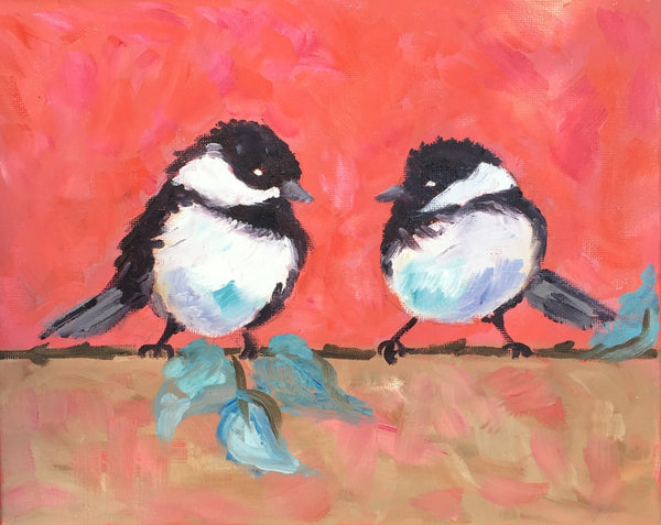 Two Birds on a Wire painting Jenny Moss - Christenberry Collection