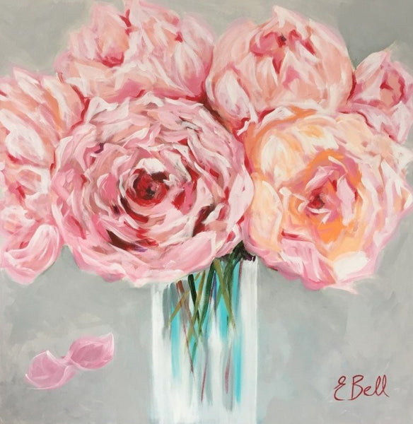 Vase of Peonies painting Emma Bell - Christenberry Collection