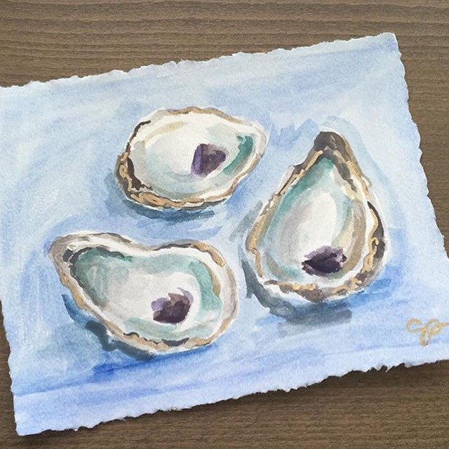 Watercolor Oysters painting Shields Catone - Christenberry Collection