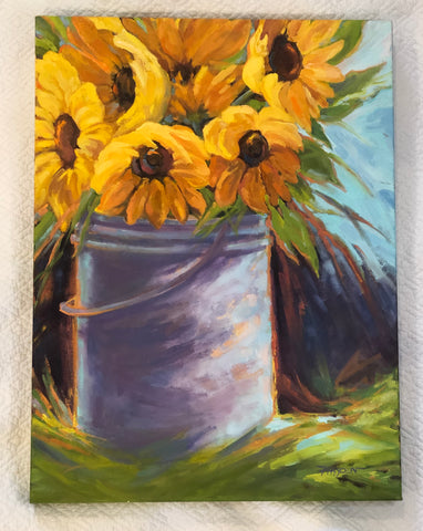 Bucket of Sunflowers painting Barbara Hayden - Christenberry Collection