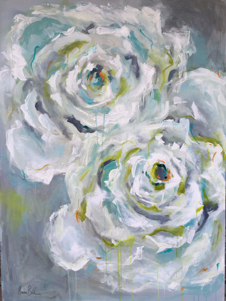 Two White Roses painting Emma Bell - Christenberry Collection