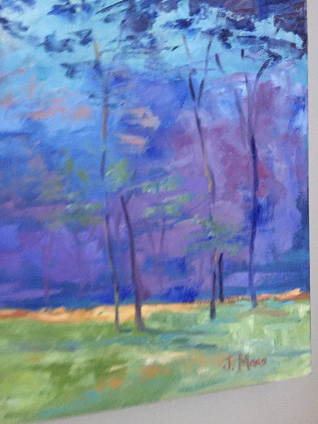 Landscape in Blues painting Jenny Moss - Christenberry Collection