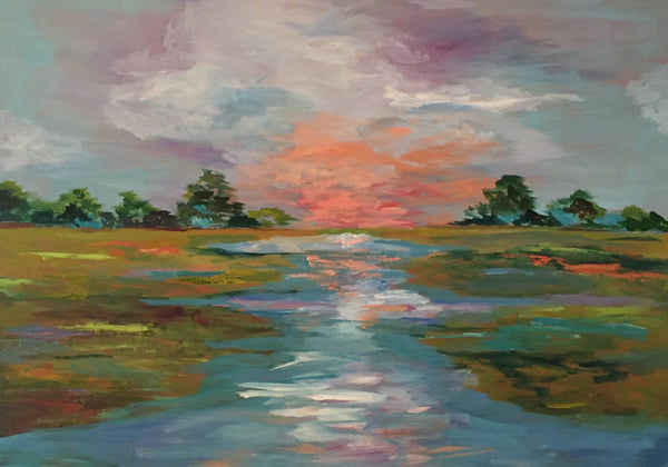 Carolina Coastal Marsh painting Jenny Moss - Christenberry Collection