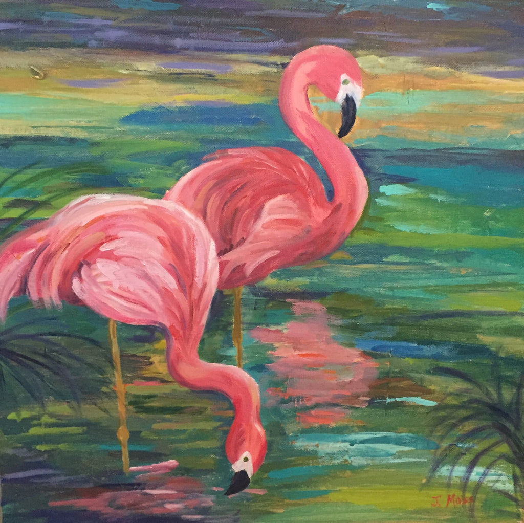 Carolina Coastal Flamingos painting Jenny Moss - Christenberry Collection
