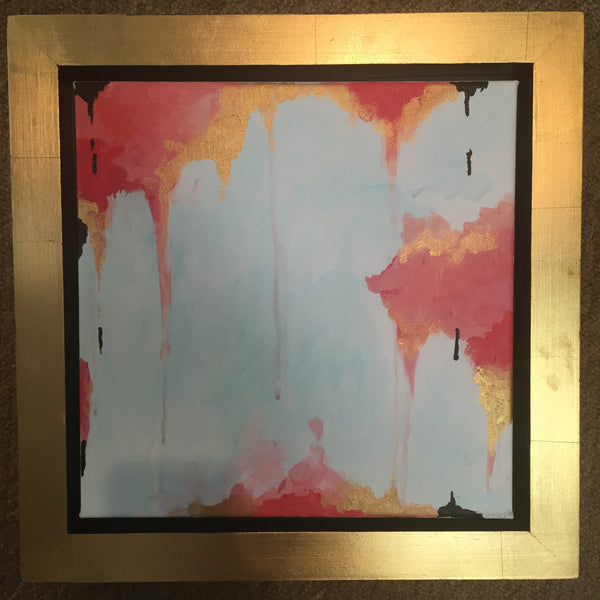 Coral and Gold Abstract painting Jane Marie Edwards - Christenberry Collection