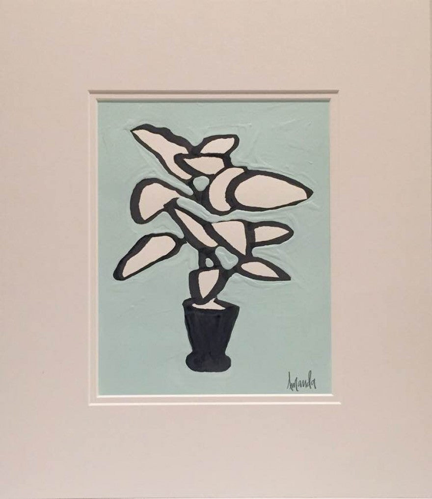Blue Potted Botanical painting Amanda Petro - Christenberry Collection