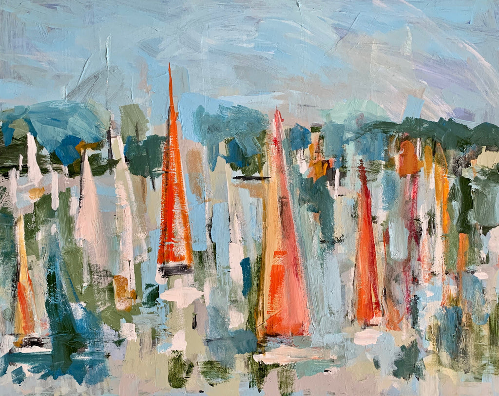 Orange Sails painting Molly Wright - Christenberry Collection