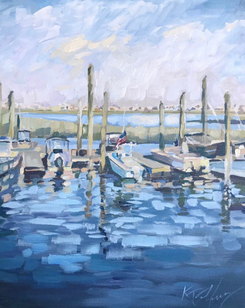 Inlet Marina painting Kelly Pelfrey - Christenberry Collection