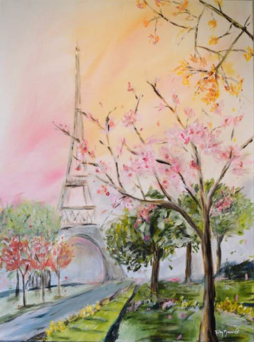 Cherry Blossom Stroll painting Kathy Morawiec - Christenberry Collection