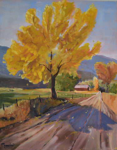 Rural Route 28 in Gold painting Kathy Morawiec - Christenberry Collection