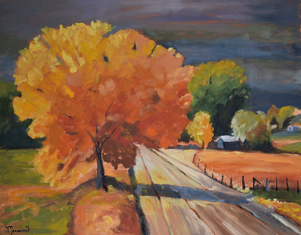 Rural Route 28 in Red painting Kathy Morawiec - Christenberry Collection
