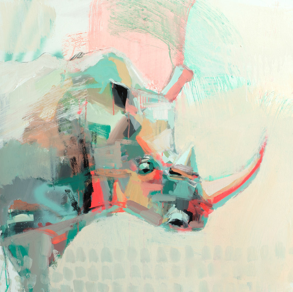 Blushing Rhino painting Teil Duncan - Christenberry Collection
