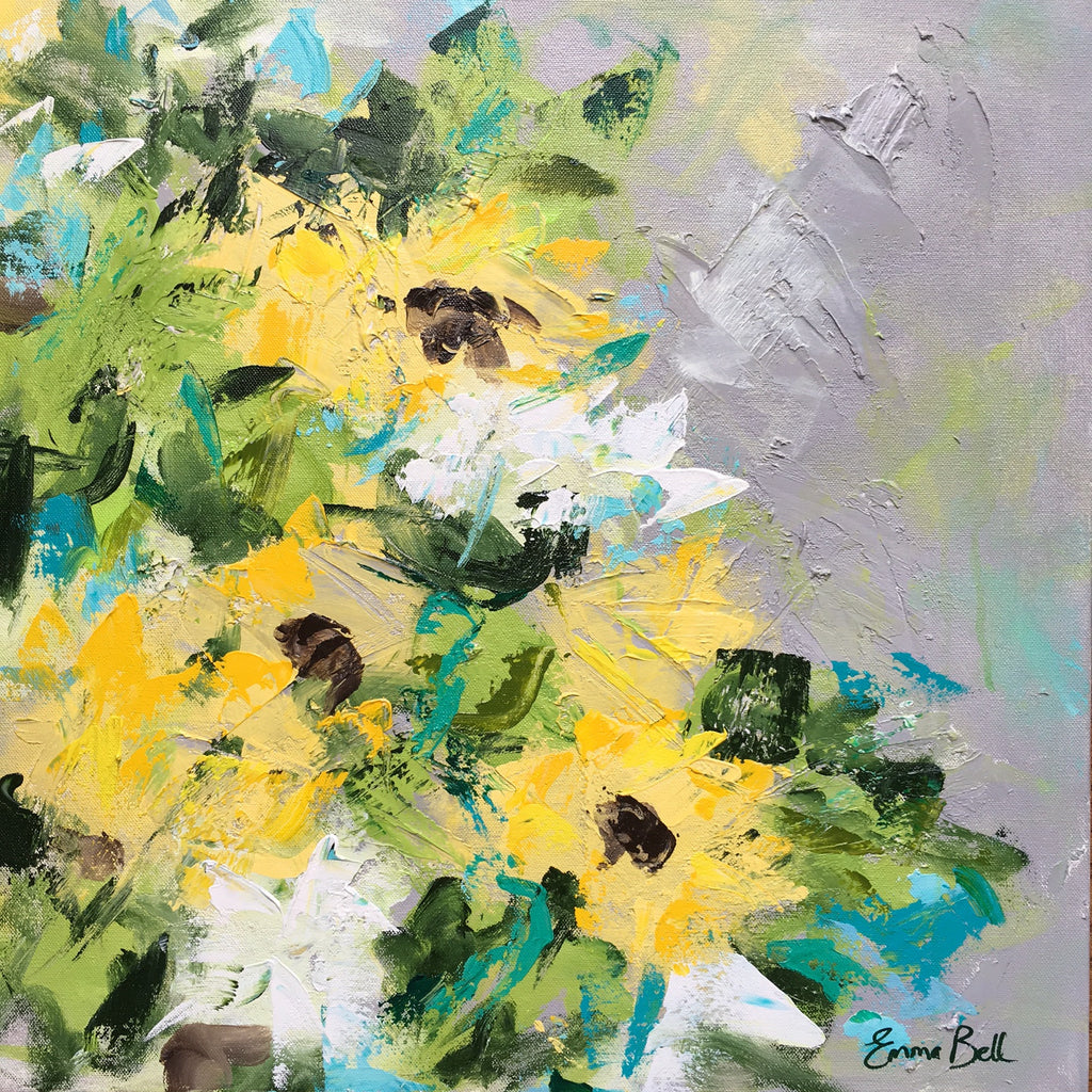 Sunflowers and Daisies painting Emma Bell - Christenberry Collection