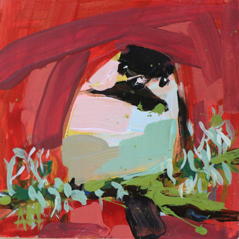 Chickadee no. 1034 painting Angela Moulton - Christenberry Collection
