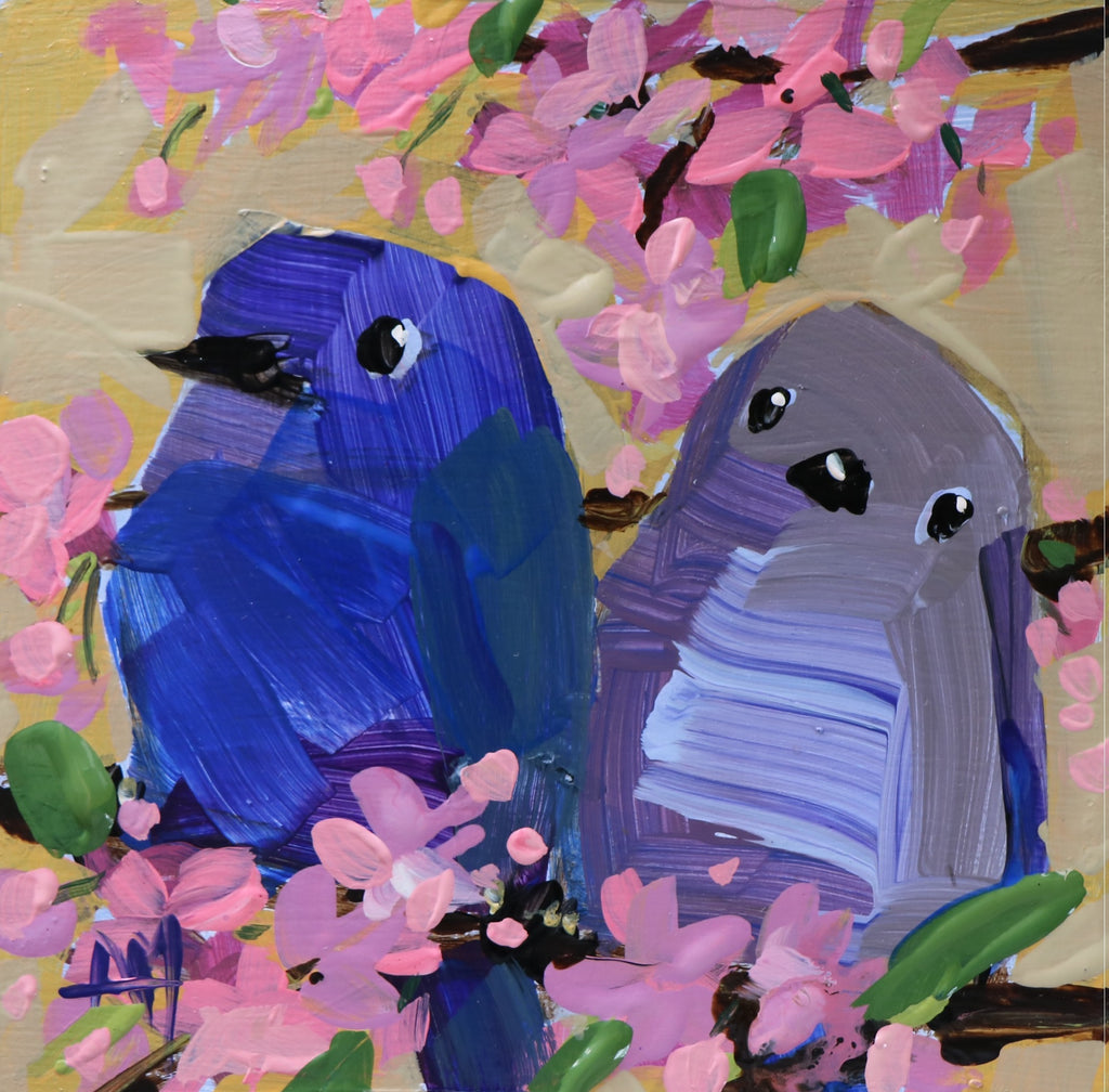 Two Mountain Bluebirds no. 10 painting Angela Moulton - Christenberry Collection