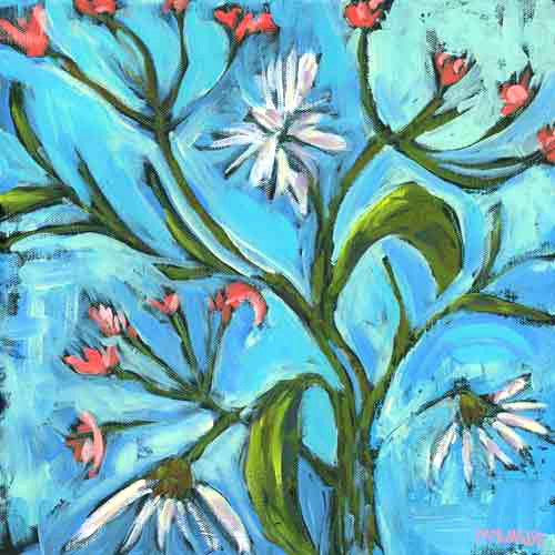 Blue Daisy Pattern painting Pamela Wingard - Christenberry Collection