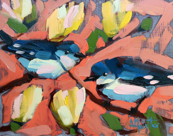 Cerulean Warblers and Magnolias painting Angela Moulton - Christenberry Collection