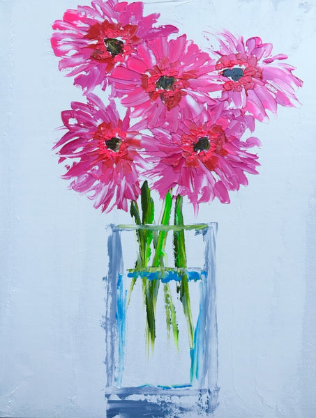 Bright Pink Gerbers painting Emma Bell - Christenberry Collection