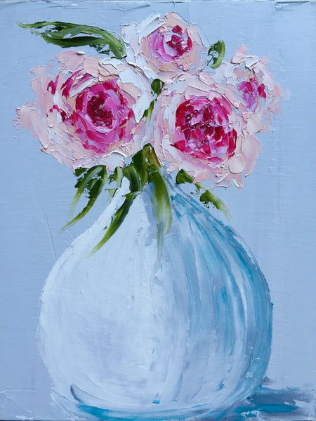 Four Peonies in White Vase | Christenberry Collection