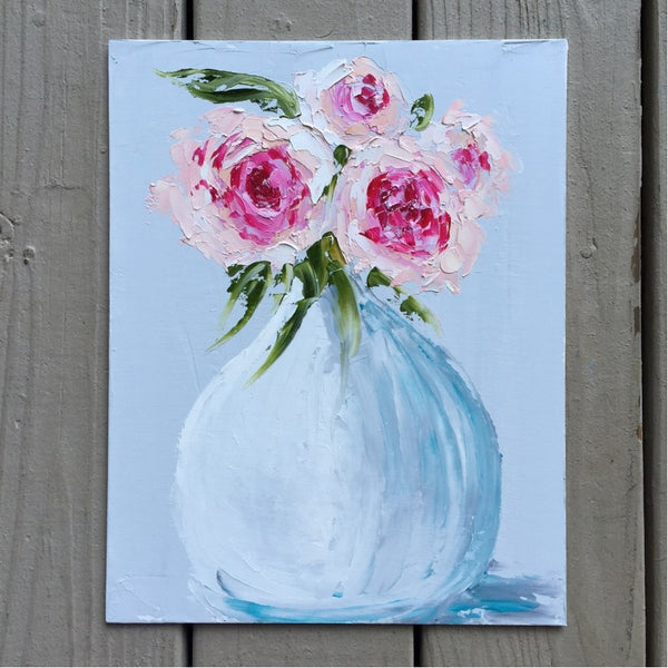 Four Peonies in White Vase painting Emma Bell - Christenberry Collection