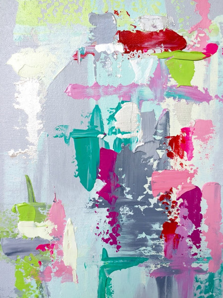 Gray, Lime, Aqua, Pink Abstract
