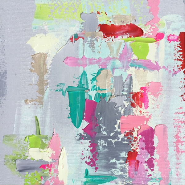 Gray, Lime, Aqua, Pink Abstract | Christenberry Collection