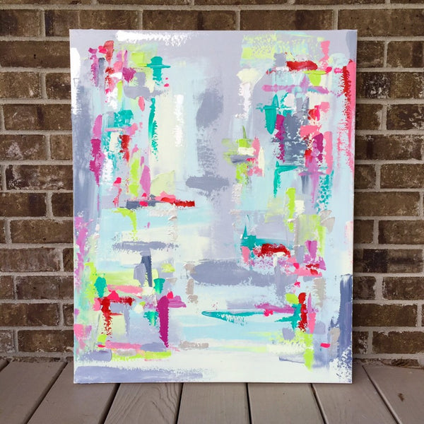 Gray, Lime, Aqua, Pink Abstract painting Emma Bell - Christenberry Collection